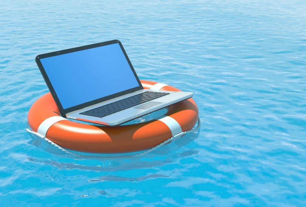 Laptop im Rettungsring